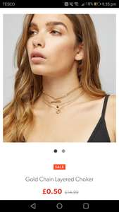 Newlook Necklace Gold Chain Layered Choker 50p