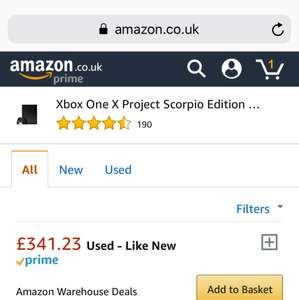 Xbox One X Project Scorpio Edition Used - Like New £341.23 @ Amazon