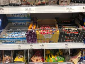 Bounty, twin, mars and Yorkie large bars 49p at home bargains derby discount offer