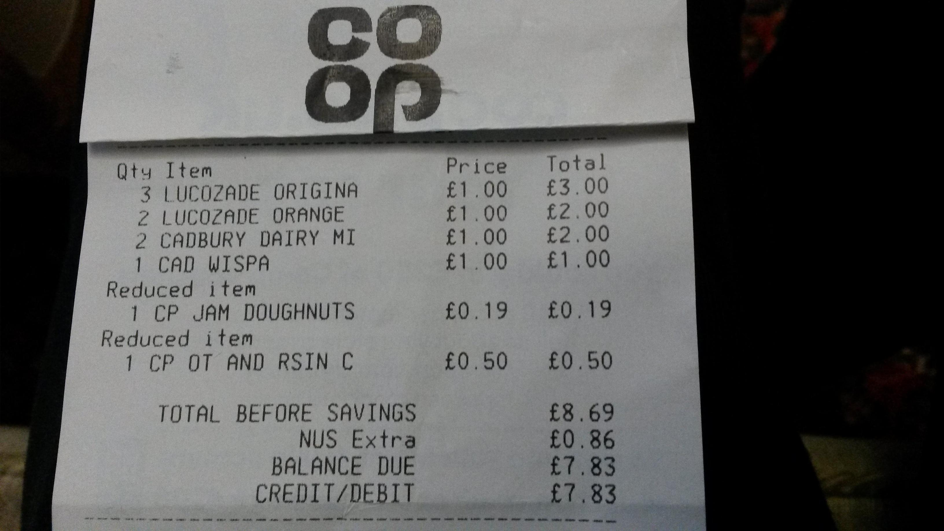 4 pack cadbury dairy milk £1 @ Co-op