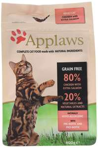 Applaws Dry Cat Food Adult Chicken with Salmon, 400g - £2.99 add-on or S&S available at Amazon