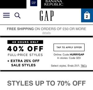 GAP Sale – Up to 70% off – Plus Additional 25% off with code HURRYGAP (30% off with code DOUBLEGAP)