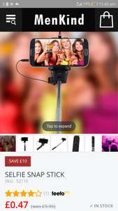 Selfie stick 47p! / £4.46 delivered @ Menkind