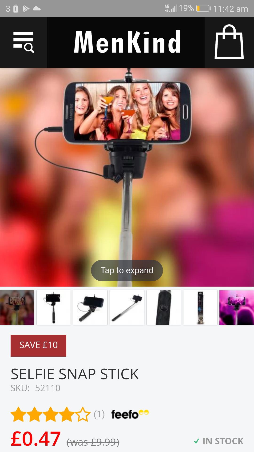 Selfie stick 47p! / £4.46 delivered @ Menkind