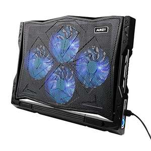 "AUKEY Laptop Cooler, 12""-17""', 4 Quiet Fans, 1200 RPM, 2 USB Ports, 5 Height Settings, Blue LED Lighting (CP-R2) £7.99 Sold by Tianyue Dazzling and Fulfilled by Amazon"