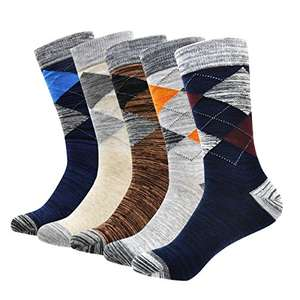 Men's Socks, Okiss Men's Cotton Dress Socks Colorful Patterned Winter Thick Socks Breathable with smooth toe seams (5-pack Argyle) £7.79 prime / £11.78 non prime Sold by OKISS and Fulfilled by Amazon.