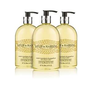 Pack of 3 Baylis & Harding Sweet Mandarin and Grapefruit 500ml Hand Wash £3.99 Add On Item / Minimum £20 Spend or Subscribe & Save for cheaper Non Add On Prices at Amazon
