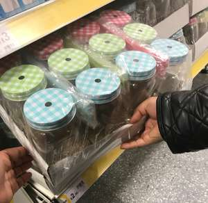 Wilko 12 mason jars with lids / straws £2 instore - East Ham