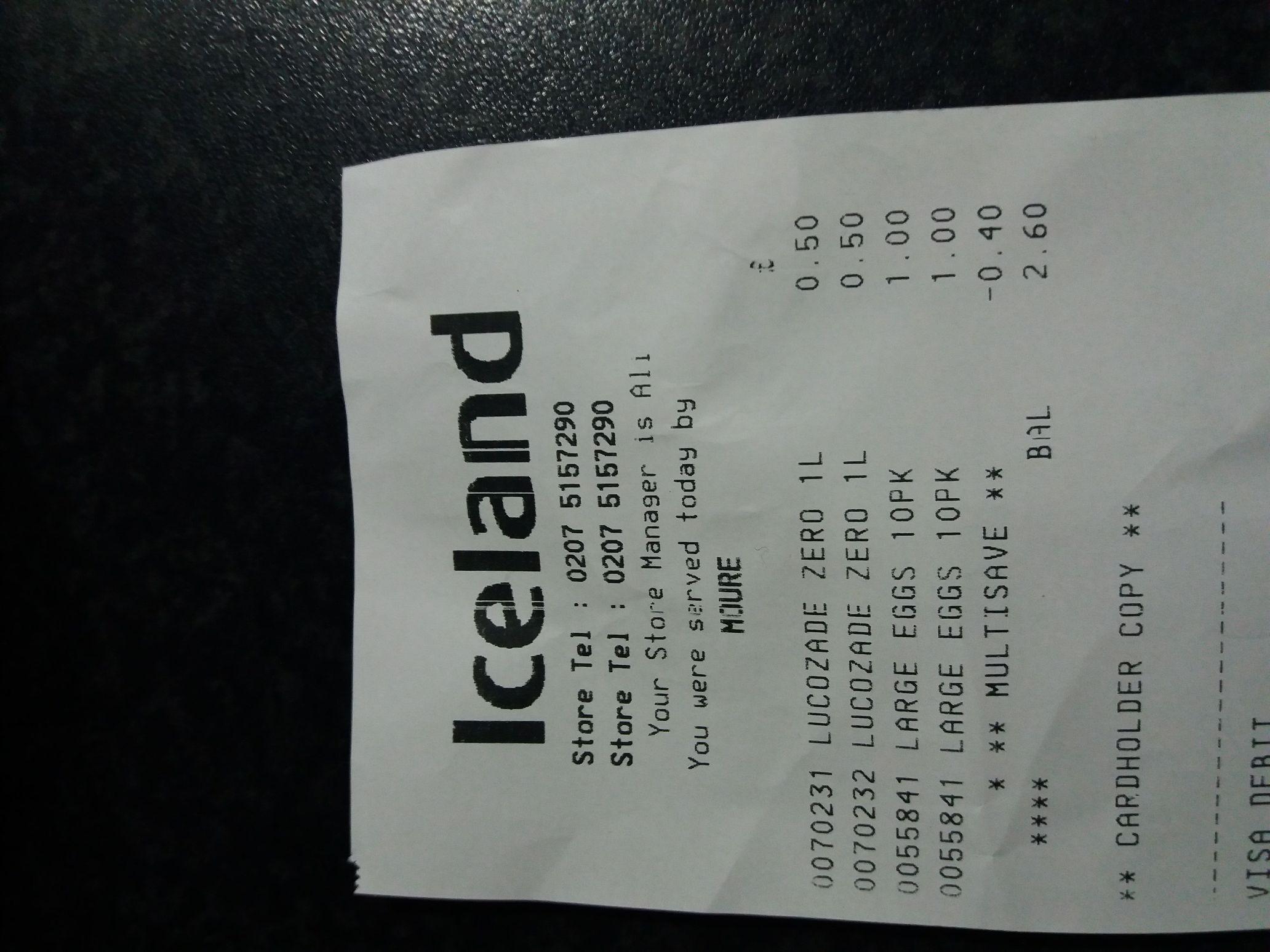 Lucozade Zero 1 litre 50p Iceland