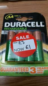 Duracell Rechargeable AA 1300mAh £1 instore @ Asda