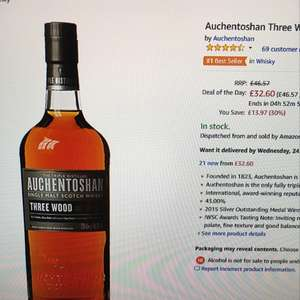 Daily Deal: auchenoshan three wood single malt whisky £32.60 @ Amazon