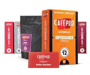 Get a £10 voucher for nespresso compatible cafépod capsules (50 capsules for £8.70!)