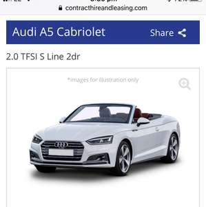 Audi A5 Convertible Lease, S Line 2.0 TFSI, £7984 total cost, £299.49/mth @ carleasespecialoffers.co.uk
