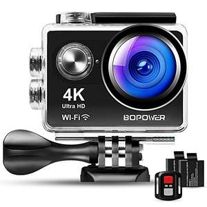 "Bopower 60fps WIFI Sport Anti-Shake Waterproof Camera with 2.4G RF Remote, Full HD 2.0""Display, 170 degree Ultra Wide Lens, 2Pcs 1050mah Batteries, Ton of Accessories"