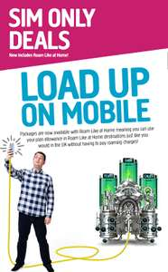 6GB data, unlimited text, unlimited minutes, 30 days contract, roam like at home (existing clients) £11 - Plusnet