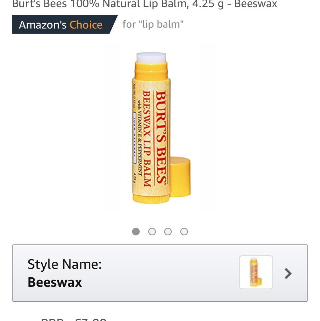 Burt's Bees 100% Natural Lip Balm, 4.25 g - Beeswax £2.65 Prime / £6.64 Non Prime / £2.52 S+S @ Amazon