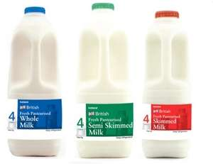 4 Pints Whole - Semi and Skimmed Milk 99p @ Iceland