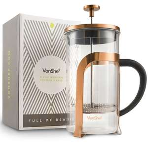 VonShef 8 Cup / 1L Glass Copper Coloured Stainless Steel French Press Cafetière + 2 Year Warranty £11.99 Del @ Domu