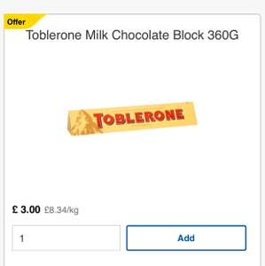 Toblerone on offer for £3 - 360g @ Tesco
