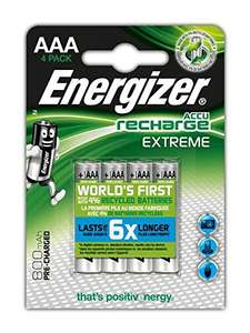 Energizer Extreme AAA Rechargeable Batteries - Pack of 4 £6.66 prime / £7.65 non prime Sold by LED-ART and Fulfilled by Amazon