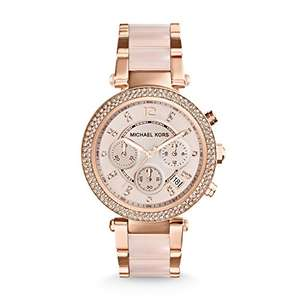 Michael Kors Mid-Size Rose Goldtone/Stainless Steel Parker Three-Hand Glitz Watch £97.65 @ Amazon - Prime exclusive