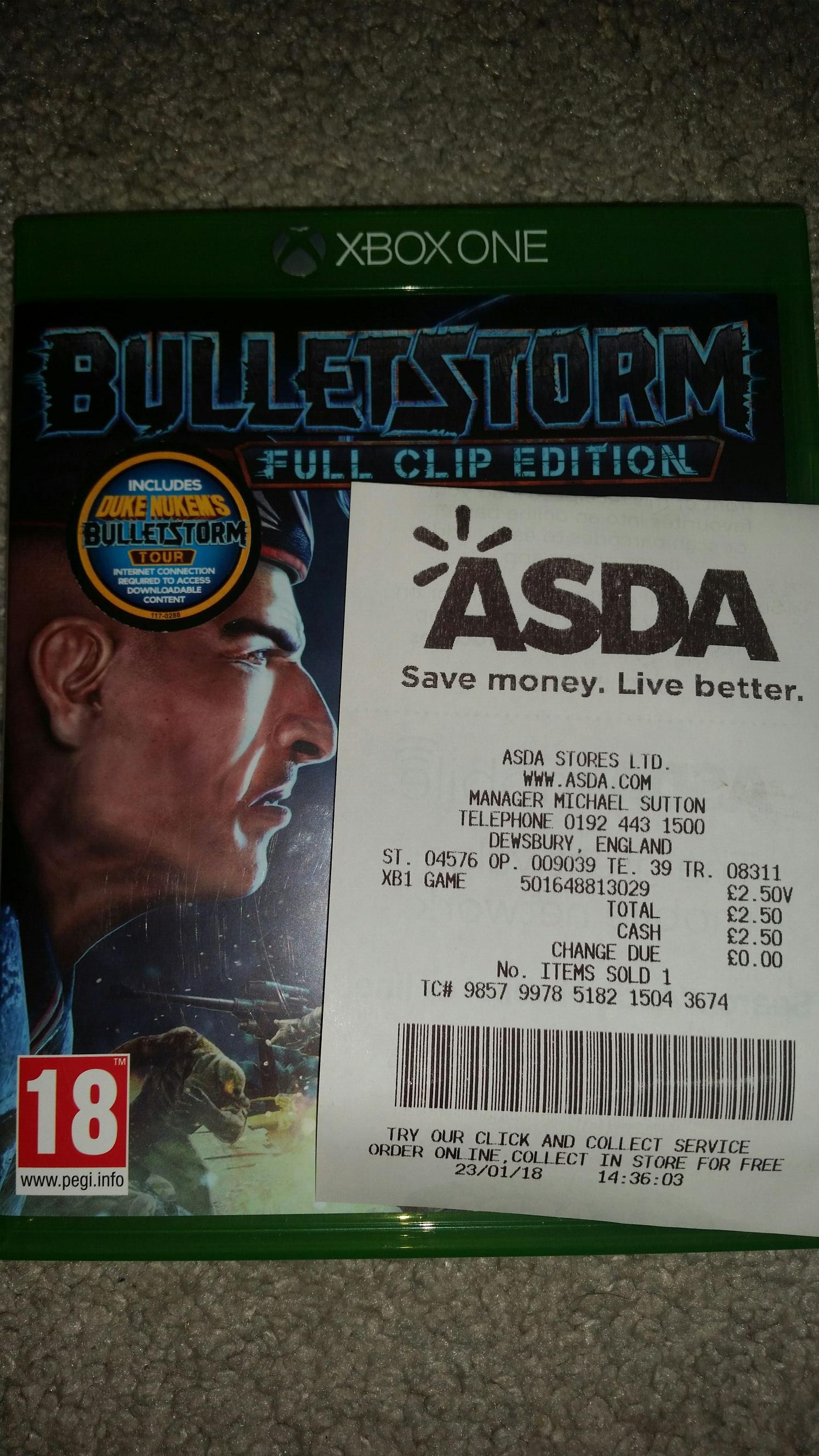 Bulletstorm Full Clip Edition xb1/ps4 £2.50 instore ASDA