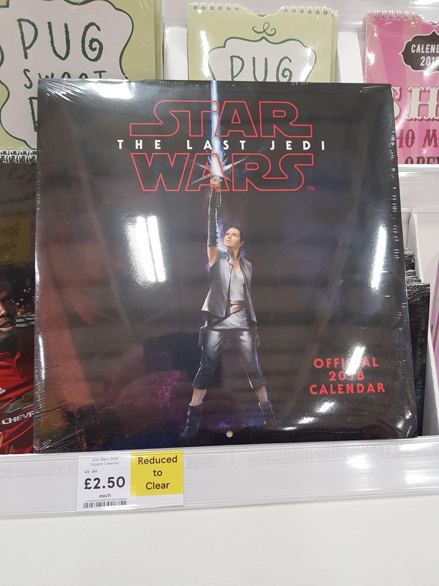 Star wars 2018 official calendar £2.50 @ Tesco - Warrington