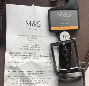 M&S Men Reversible Black/Brown Belt £1.85 instore - Westfield shopping center London