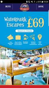 Waterpark Escapes at Alton Towers includes awhole day in the Alton Towers Waterpark, an overnight stay and a delicious breakfast all fromjust £69 per couple!