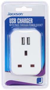 Jackson Dual USB charger with pass-through socket at Homebase for £2.50