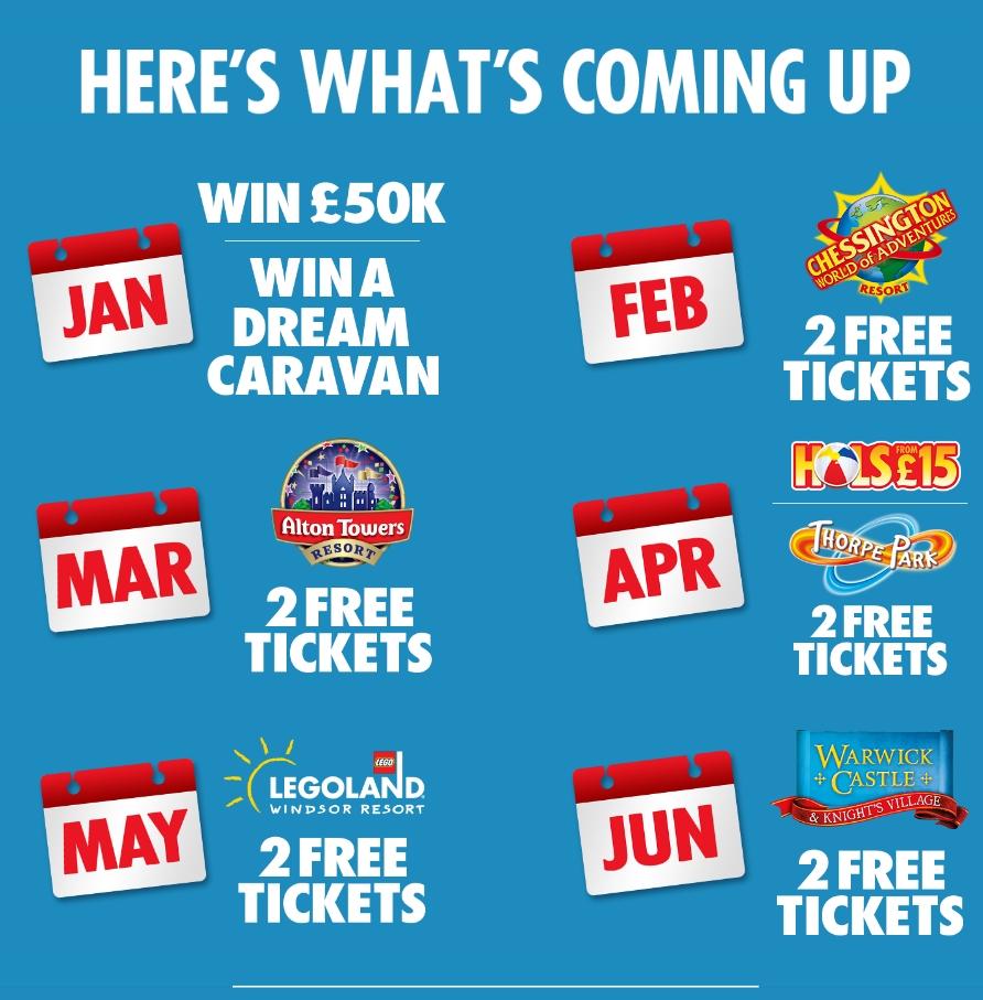 Free 2 tickets to Alton Towers, Legoland, Chessington etc with Sun tokens