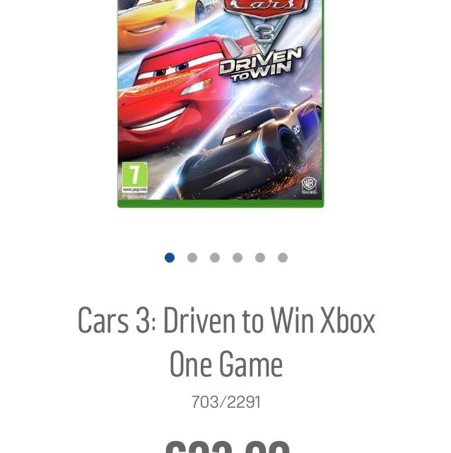 Car's 3 Argos Xbox one & PS4 Game £23.99 @ Argos