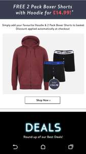 Tokyo Laundry - Free 2 pack of boxers with Hoodie £14.99 + £2.99 p&p
