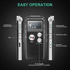 Digital Voice Recorder,TENSAFEE 8G Dictaphone Sound Recorder. £9 off using promo code. £8.99 prime/12.98 non prime Sold by tensafee-direct and Fulfilled by Amazon.. Great reviews.