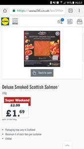Deluxe Smoked Scottish Salmon 100g - £1.69 at Lidl on 27th & 28th January
