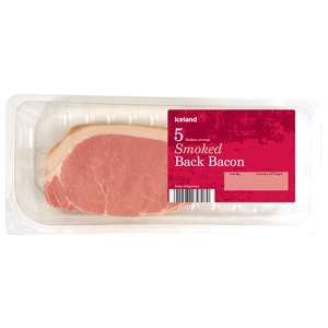 Iceland 7 Day Deal 167g 5 Rashers Smoked  / unsmoked Back Bacon 67p was £1.