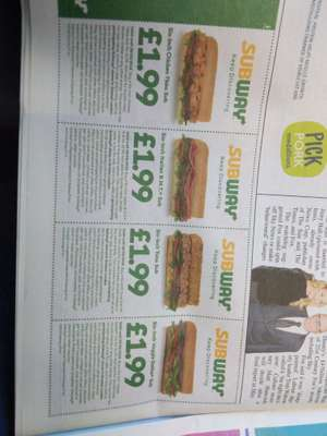 4 Different subs for £1.99 each @ Subway with voucher in Metro -  in Greater London area only