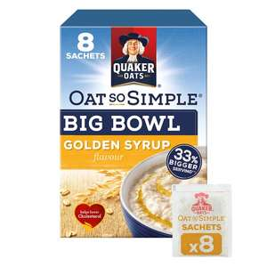 Quaker Oat So Simple Big Bowl Golden Syrup Porridge 8 X49.6G £1.22 at Tesco - **Compared to standard 36g sachet.