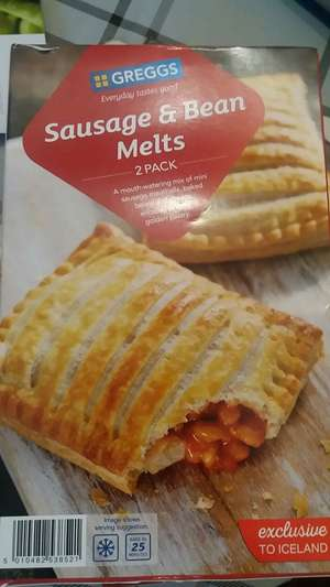 Greggs Sausage & Beans melts (2 per pack) 308g or Cheese and Onion bakes (288g). .... £1 at Iceland