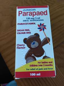 B&M Junior Parapaed (paracetamol) 120mg/5ml oral suspension 100ml Cherry flavour. Sugar & colour free. (exactly the same medicine as Calpol, in other words) £1