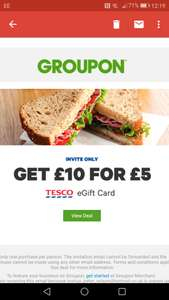 Groupon tesco £10 voucher for £5 - invite only.