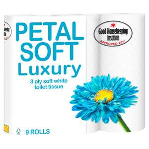 Petal Soft Luxury 3 Ply Soft White Toilet Tissue 9 Rolls £2.19 Iceland - Great price for pretty good quality toilet rolls... Good Housekeeping Approved!!