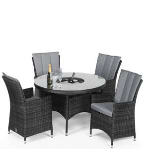 LA Rattan Effect 4 Seater Round Garden Furniture Set with Ice Bucket - Grey £700 @ Homebase