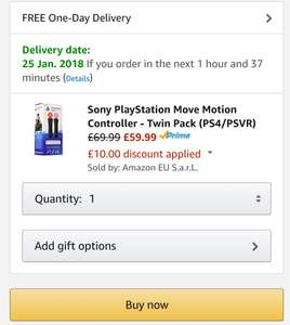 Sony Ps4 Psvr controller twin pack! £59.99 with code @ Amazon