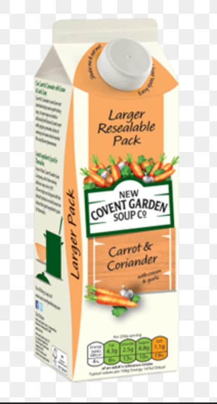 1Ltr New Covant Garden Carrot & Coriander Soup 75p Heron
