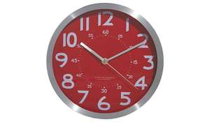 BACK IN STOCK George Home red and silver wall clock £3.18 free C&C or £2.95 delivery @ ASDA