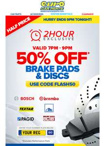 Eurocarparts half price two hour flash sale on brakes and pads