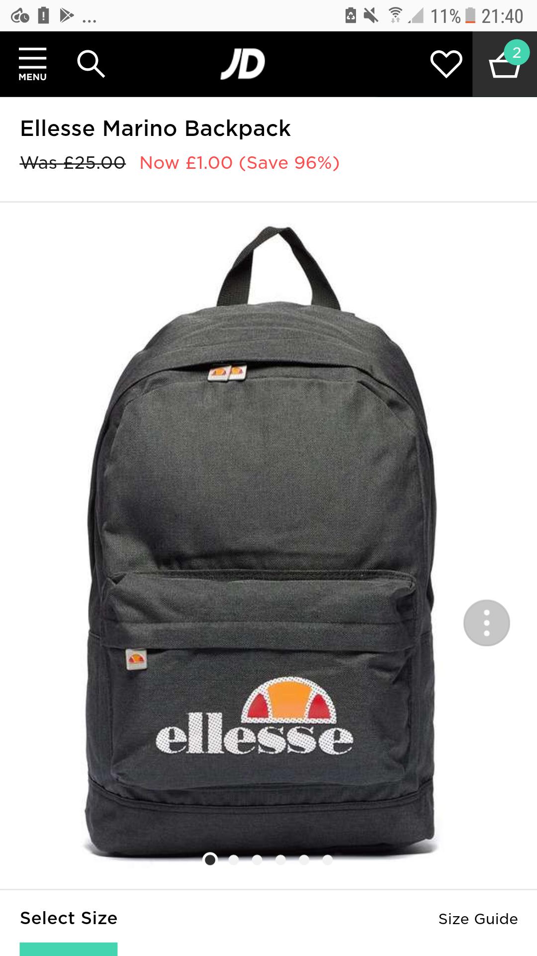 Ellesse Marino Backpack - £1 @ JD Sports (C&C)