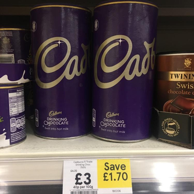 Cadburys Hot Chocolate / Drinking Chocolate powder 750g £3 instore @ Tesco
