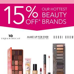 Debenhams 15% off selected Beauty Brands (Urban Decay Kat Von D MAC Cosmetics Benefit MAKE UP FOR EVER Bobbi Brown Too Faced)